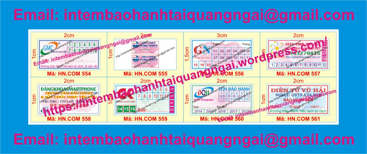 In tem bảo hành giá rẻ tại QuảngNgãi
