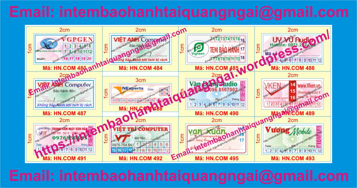 In tem bảo hành chất lượng cao tại QuảngNgãi