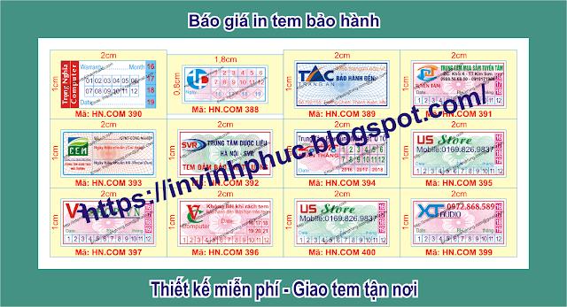 In tem bảo hành giảm giá sâu 35% chỉ còn 70đ/cái ở tại Xã An Thái, Huyện Phú Giáo, Tỉnh BìnhDương