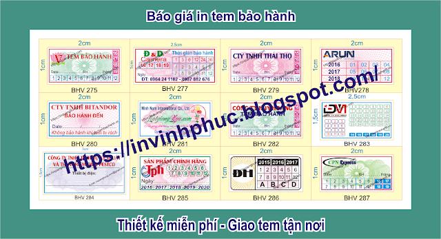 In tem bảo hành giảm giá sâu 46% chỉ còn 65đ ở tại Phường Phú Lợi, Thành phố Thủ Dầu Một, Tỉnh BìnhDương
